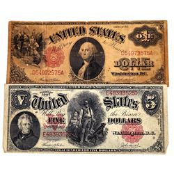 Early 20th Century U.S. $1 & $5 Notes  (124134)