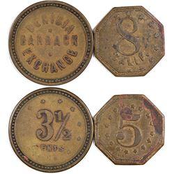 Benicia California Barrack Exchange Tokens (3 1/2 cents!)   (124402)