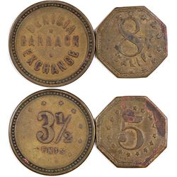 Benicia California Barrack Exchange Tokens (3 1/2 cents!)   (124402)