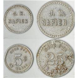 Centerville California J. H. Napier Tokens (2)  (122644)