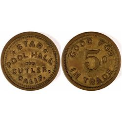 "Cutler, Cal. ""Pool Hall"" Token  (120311)"