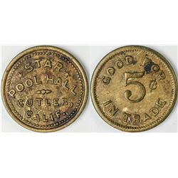 Cutler California Star Pool Hall Token  (122642)