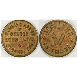 Fresno California Bowling Alley Saloon Token  (122617)
