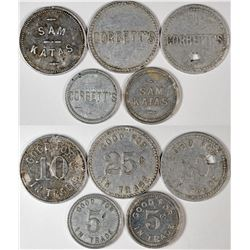 "Fresno California ""Mavericks"" Tokens (5)  (120280)"