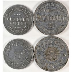 "Fresno California ""Palm Garden"" Tokens  (120276)"