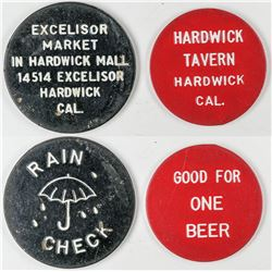 Hardwick California Tokens (2)  (122639)