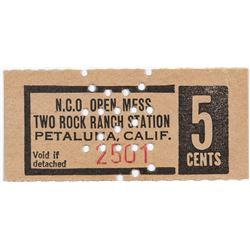 Petaluma California NCO Open Mess Two Rock Ranch Station Token  (124394)