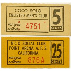 Point Arena California  NCO Club Tokens (2)  (124392)