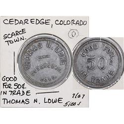Cedaredge Colorado Thomas N. Lowe Token  (124199)