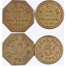 Fort Des Moines NCO Club Tokens (2)  (124360)