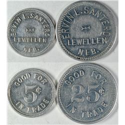 Lewellen Nebraska Ervin L. Santero Tokens (2)  (121641)