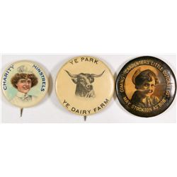 Celluloid Button Group - 3  (126183)