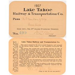 Lake Tahoe Railroad & Steamer Pass Signed by DL Bliss  (113639)