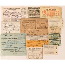 Virginia & Truckee Railroad Paymaster timecard and Miscellaneous Railroad Passes  (108696)