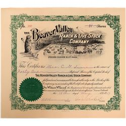 Beaver Valley Ranch & Live Stock Company Certificate with Choice Vignette  (123365)