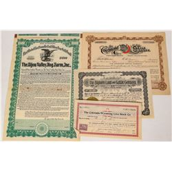 Colorado Livestock Stock Certificates  (124564)