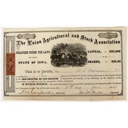Union Agricultural and Stock Association Stock with 25c Large Revenue Stamp  (123259)