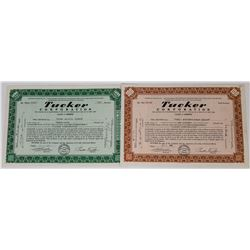 Two Different Tucker Corporation Automobile Stock Certificates  (113709)