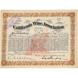 California Wine Association Stock Certificate  (124585)
