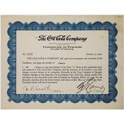 Coca-Cola Company Stock Certificate  (113660)