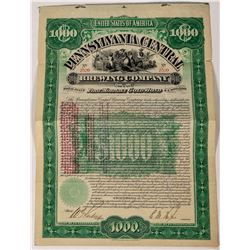 Fully Cashed In Pennsylvania Central  Brewery stock Cert  (124576)