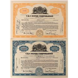 C & C Super Corporation Stocks with RARE Cone Top Can Vignette  (123325)