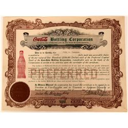 Nice, bright Coca-Cola Bottling Corporation Stock Certificate  (123337)