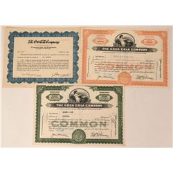 The Coca-Cola Company Stock Group including a rare 1929 Certificate of Purchase  (123344)