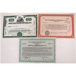 Three Pepsi-Cola Stock Certificates  (123295)