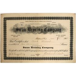Swan Brewing Company Stock Certificate NUMBER 1  (123250)