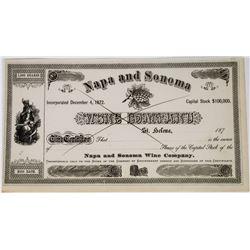 Napa & Sonoma Wine Company Stock Certificate Signed by Beringer  (113658)
