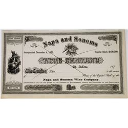 Napa & Sonoma Wine Company Stock Certificate Signed by Beringer  (113658)