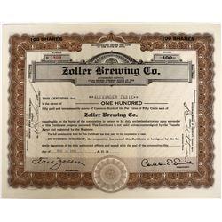 Post-prohibition Zollar Brewing Company Stock  (123271)
