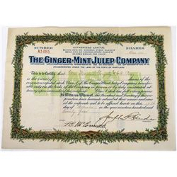 Mint Julep Company Stock Certificate  (119374)