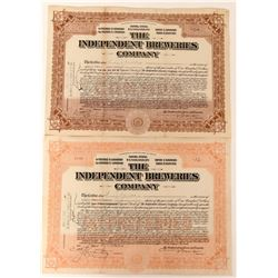 Independent Breweries Company Stocks - Rare Prohibition Era Brewery Stock  (123431)