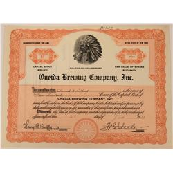 Oneida Brewing Company Stock with Great Native American Chief Vignette  (123317)