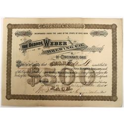 George Weber Brewing Company of Cincinnati Stock - In business for only four years  (123261)