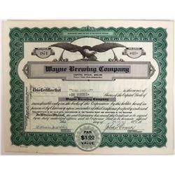Wayne Brewing Company Stock - Post Prohibition Certificate  (123262)