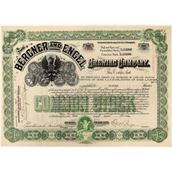 Bergner and Engel Brewing Company Stock - Perhaps the First Brewery in America to Brew Lager Beer  (