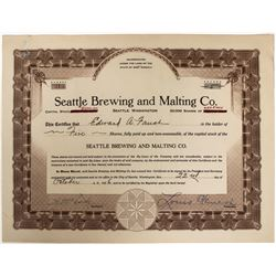 Seattle Brewing and Malting Company Stock - Original Home of Rainier Beer!  (123287)