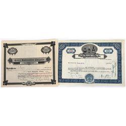 Two Liquor Company Stock Certificates  (119380)