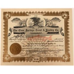 Clear Springs Trout & Poultry Company Stock with a Red Trout Underprint Vignette  (123346)