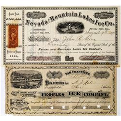 Two Truckee-Area Ice Company Stock Certificates  (113662)