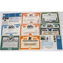 Ten Different Restaurant Stock Certificates  (113733)