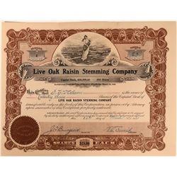 Live Oak Raisin Stemming Company Stock with vignette of miles of grape fields  (123402)