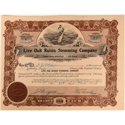 Live Oak Raisin Stemming Company Stock with vignette of miles of grape fields  (123402)