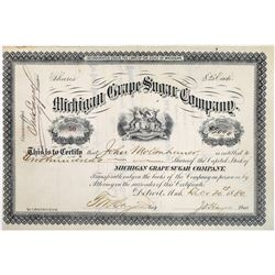 Michigan Grape Sugar Company Stock - Lasted less than 4 years  (123447)
