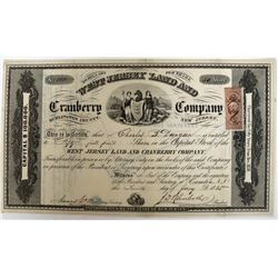 West Jersey Land and Cranberry Company Stock with map on reverse  (123263)