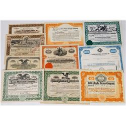 Ten Different Farming Related Stock Certificates  (113727)