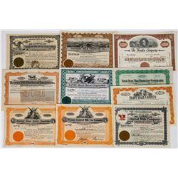 Ten Different Milk and Dairy Stock Certificates  (113735)
